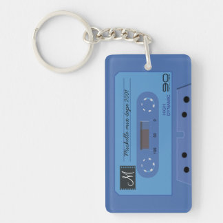 Personalized Blue retro Cassette mix-tape Keychain