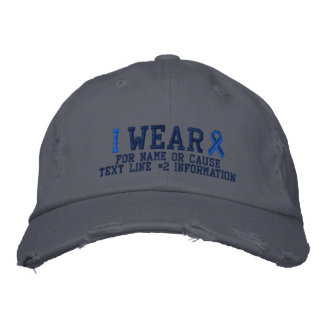Personalized Blue Ribbon Awareness Embroidery Embroidered Hats