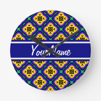 Personalized Blue Shabby Chic Royal Blue and Yello Wall Clock