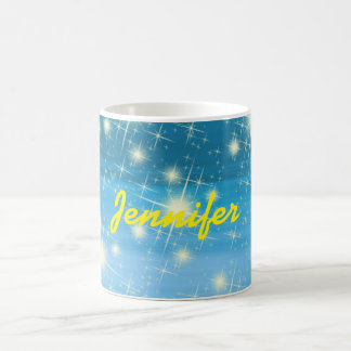 Personalized blue sky with shining stars coffee mug
