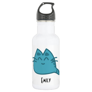 Personalized Blue Smiling Kitty Cat 532 Ml Water Bottle