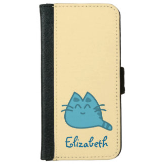 Personalized Blue Smiling Kitty Cat iPhone 6 Wallet Case