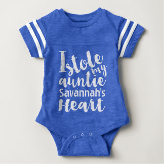 Personalized Blue Sports Stole My Aunties Heart Baby Bodysuit