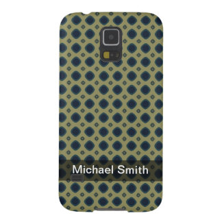 Personalized blue square pattern on khaki cases for galaxy s5