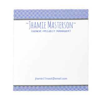 Personalized Blue Squares and Squares Notepad
