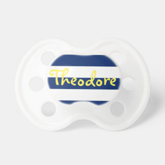 Personalized Blue Stripe Pacifier, Yellow Name Baby Pacifier