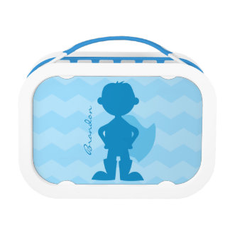 Personalized Blue Superhero Boy Silhouette Kids Lunch Box