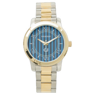Personalized Blue Vertical Stripes Dial Watch