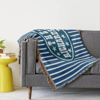 Personalized Blue Vintage Carnival Throw Blanket