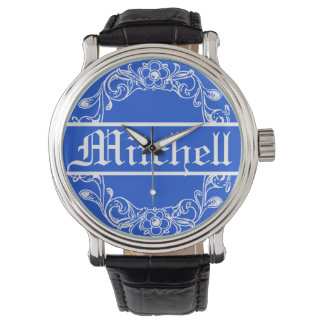 Personalized Blue Vintage Floral Watch
