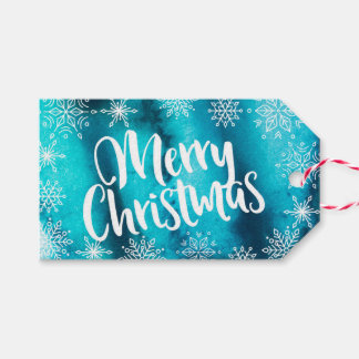 Personalized Blue Watercolor Christmas gift tags