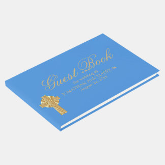 Personalized Blue Wedding Guest Book, Christian Guest Book