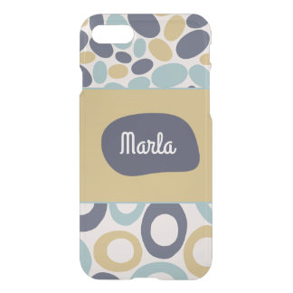 Personalized Blue, White and Tan Rounds iPhone 8/7 Case