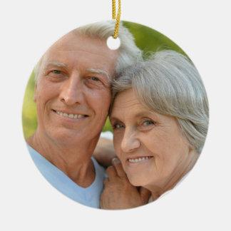 Personalized Blue White Diamond Photo Anniversary Ceramic Ornament