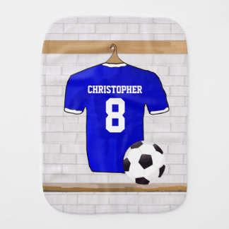 Personalized Blue White Football Soccer Jersey Burp Cloth