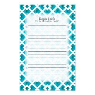 Personalized Blue White Lattice Geometric Stationery