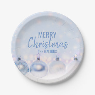 Personalized BLUE White MERRY CHRISTMAS Ornaments Paper Plate