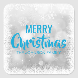 Personalized Blue White MERRY CHRISTMAS Snowflakes Square Sticker