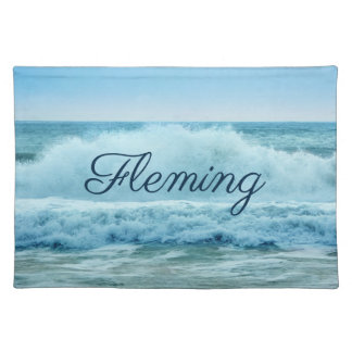 Personalized Blue White Ocean Waves Crashing Placemat