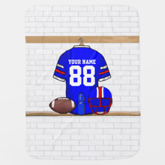 Personalized Blue White Red Football Jersey Receiving Blanket