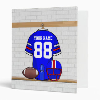 Personalized Blue White Red Football Jersey Vinyl Binder
