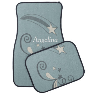 Personalized Blue White Shooting Stars Flourish Car Liners