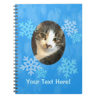 Personalized Blue Winter Snowflakes Notebooks