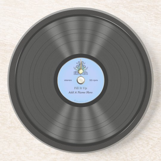 Personalized Bluegrass Vinyl Record Coaster