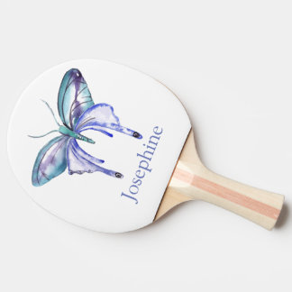 Personalized Bluish Purple Watercolor Butterfly Ping Pong Paddle