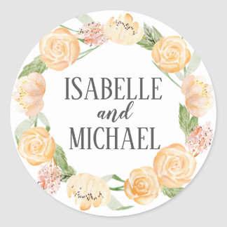 Personalized Blush Gold and Pink Rose Floral Classic Round Sticker