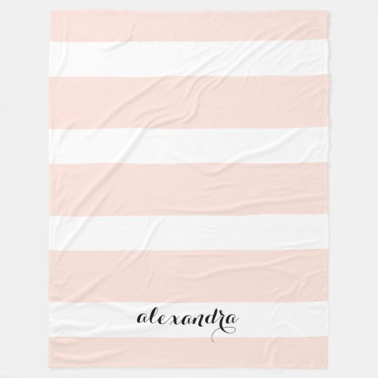 Personalized Blush Pink and White Stripes Fleece Blanket