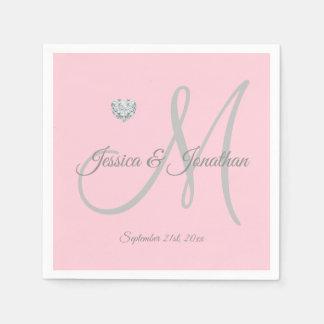 Personalized Blush PINK Heart Monogrammed Wedding Napkin