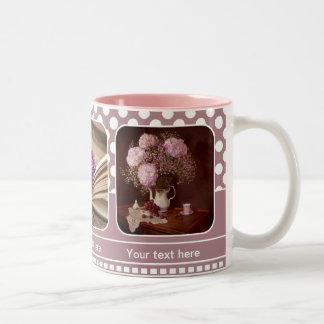 Personalized Blush Pink Photo Frame Polka Dots Mug