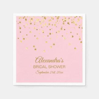 Personalized Blush Pink Rose Gold Bridal Shower Napkin
