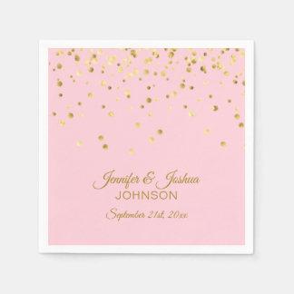 Personalized Blush Pink Rose Gold Confetti Wedding Paper Napkins