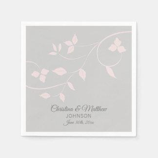 Personalized Blush Pink Rose & Grey (Gray) Wedding Disposable Napkin