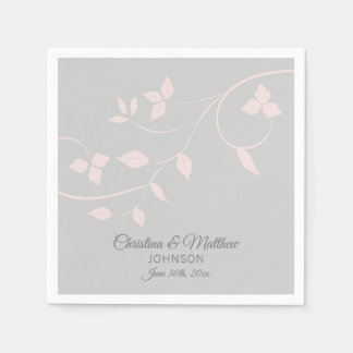 Personalized Blush Pink Rose & Grey (Gray) Wedding Napkin