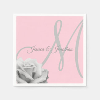 Personalized Blush PINK Rose Monogrammed Wedding Paper Napkin