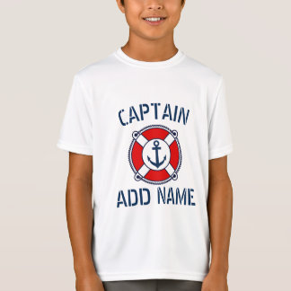 Personalized boat captain nautical kid's t shirt