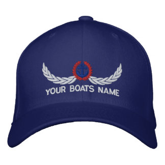 Personalized boats name sailing captains embroidered hat
