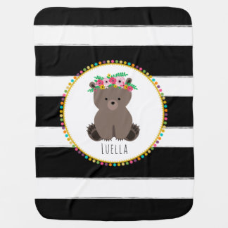 Personalized Boho Bear Pompom Inspired Blanket