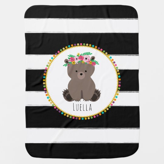 Personalized Boho Bear Pompom Inspired Blanket Receiving Blanket