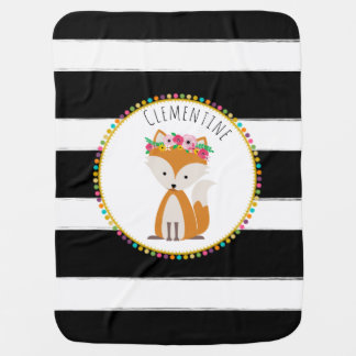 Personalized Boho Fox Pompom Inspired Baby Blanket