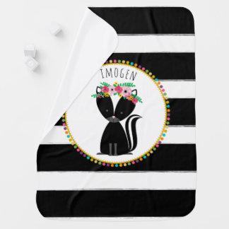 Personalized Boho Skunk Pompom Inspired Blanket