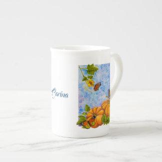Personalized Bone China Mug with Butterflies