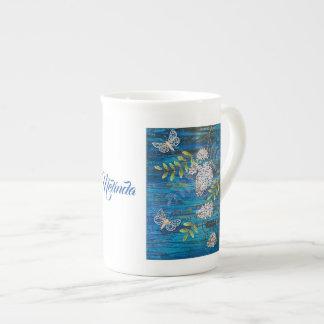 Personalized Bone China Mug with Moths & Flowers