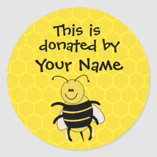 Personalized Book Donation Sticker Honeybee Custom