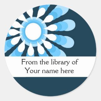 Personalized Bookplates (6) Modern Flower Round Sticker
