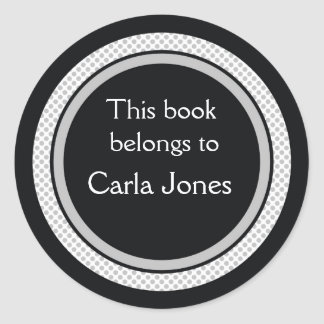 Personalized Bookplates:Black And Grey Polka Dots Classic Round Sticker