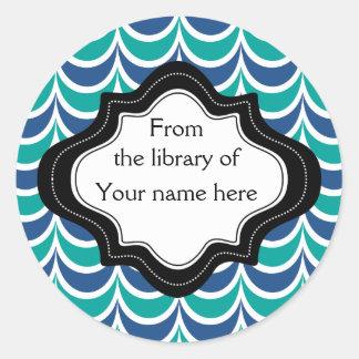 Personalized Bookplates|Blue Green  Wavy Stripes Round Sticker